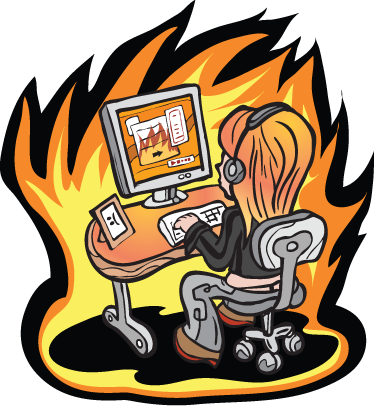 TenStickers. Girl on Fire Laptop Sticker. A laptop sticker with an illustration of a young hacker in action sitting at her desk.