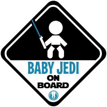 TenStickers. Sticker baby jedi on board. Adesivo decorativo per segnalare la presenza di un piccolo Skywalker a bordo. Disponibile in diverse dimensioni anche personalizzabili.