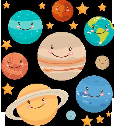 TenStickers. Autocolante decorativo infantil planetas. Autocolante decorativo infantil ilustrando todos os planetas do sistema solar, esboçando adoráveis sorrisos!