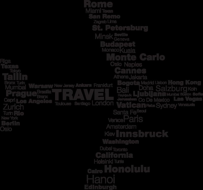 TenStickers. Plek van Bestemming Vliegtuig Tekststicker. Indrukwekkende muursticker van een vliegtuig die gevormd wordt met de namen van verschillende steden. Afmetingen aanpasbaar. Keuze uit 50+ kleuren.