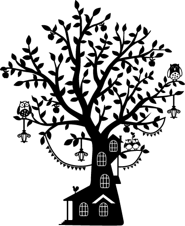 TenStickers. Kids Tree House Monochrome Wall Sticker. An original and playful wall art of a tree house from our collection of forest wall stickers to decorate your children's bedroom or play area.