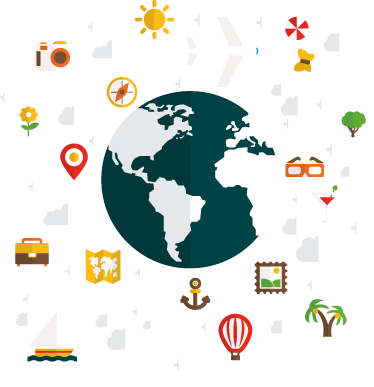 TenStickers. World of Travel Sticker. Detailed illustration of a globe surrounded by symbols related to travel. Sign up for 10% off. High quality materials used.