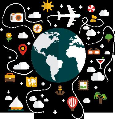 TenStickers. Wereldbol reizen sticker. Reis jij graag de wereld over? Dan is dit een sticker voor jou. Beplak deze sticker op jouw muur en laat zien dat je een echte wereldreiziger bent.