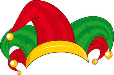 TenStickers. 조커 모자 테마 벽 stciker. 방 스티커-장식 여러 가지 빛깔 광대 코트 모자입니다. 밝은 빨강, 녹색 및 금.