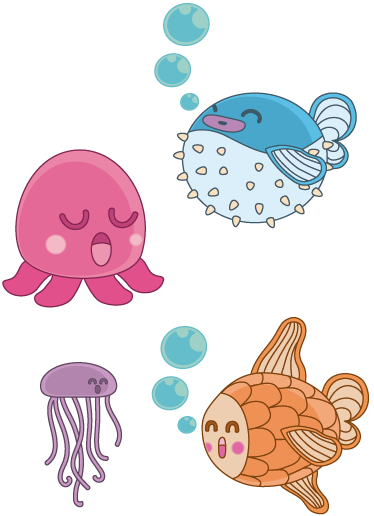 TenStickers. Kids Happy Sleepy Fish Decals. A collection of playful fun illustrations by artist Jaume Salés exclusively for Tenstickers. A brilliant design from our under the sea wall stickers collection. Sticker set containing an octopus, blowfish, goldfish and a jelly fish to create a relaxing atmosphere for your child's nursery.