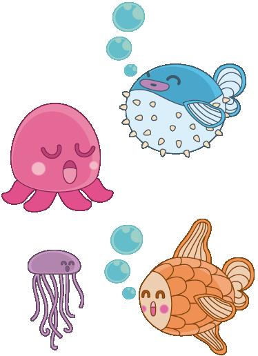 TenVinilo. Sticker infantil ilustración peces. Un pulpo, una pez globo, una medusa... Original dibujo realizado por el artista Jaume Salés en exclusiva para tenvinilo.