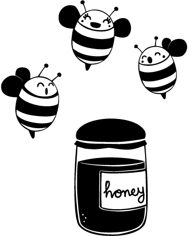 TenStickers. Honey Jar Bees Decal. Decals - Original illustration by cartoonist Jaume Salés. Three honey bees hovering around a jar of golden honey. Available in various sizes.
