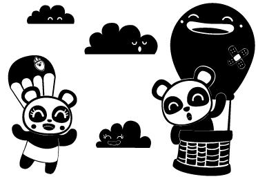 TenStickers. Kids Sky High Pandas Wall Sticker. Kids Wall Stickers - Original Japanese comic style illustrations of two pandas in the sky surrounded by clouds. Illustration by Jaume Salés.
