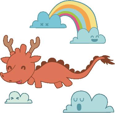 Sticker enfant dragon arc en ciel tenstickers - Dragon arc en ciel ...
