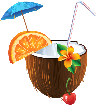 TenVinilo. Adhesivo cocktail coco tropical. Realista pegatina de un refrescante cocktail caribeño con un coco como copa.