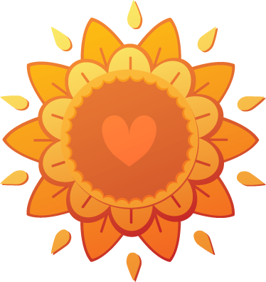 TenStickers. Hindu Love Flower Wall Sticker. Decals - Warming illustration of an orange flower with a heart in the center. Available in various sizes.
