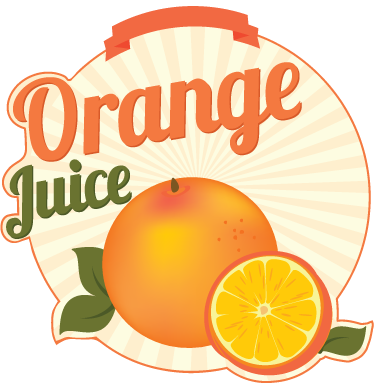 "TenStickers. Orange Juice Decal. Wall Stickers - Attractive illustration of sweet, delicious and juicy oranges accompanied with the text ""Orange juice""."