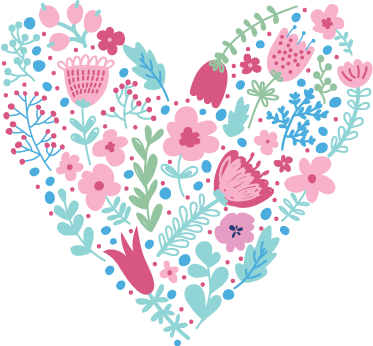 TenStickers. Floral Heart Wall Sticker. A fantastic heart made from wild flower illustrations. Splendid flower decal from our collection of heart stickers to decorate your home.