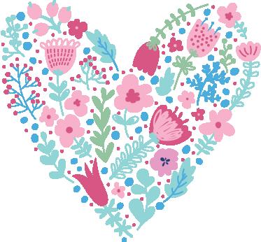 TenStickers. Sticker bloemen hart. Deze sticker is een hart dat gemaakt is van allemaal verschillende bloemen. Dit hart zal kleur en karakter toevoegen in jouw woning.