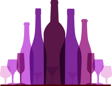 TenStickers. Wine Collection Wall Sticker. A modern and original feature of a collection of purple and pink wine tone bottles. Design from our collection of purple wall stickers.