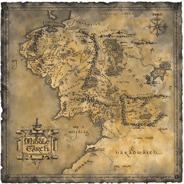 TenStickers. Middle earth map cinema decal. Decorative home wall decal design of middle earth world  map. It is self adhesive, easy to apply and available in any required size.