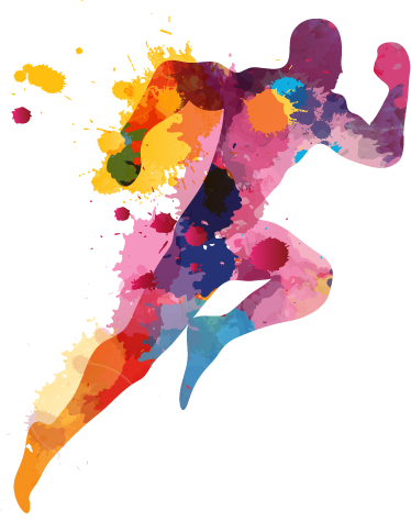 TenStickers. Burst of Energy Runner Wall Sticker. Colourful silhouette wall sticker of an athletic running man, ideal for adding colour to dull walls. Distinctive feature to brighten up any wall in your bedroom, living room, dining room, teen's room and more!