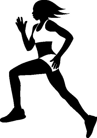 TenVinilo. Vinilo decorativo silueta chica running. Adhesivo de lo más saludable con la silueta de una joven corredora practicando su deporte favorito. Descuentos para nuevos usuarios