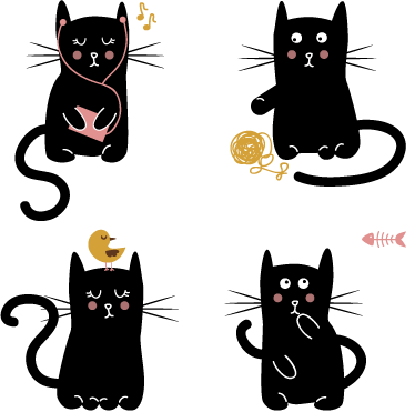 TenStickers. Black Cats Wall Stickers. Wall Stickers - Collection set of four adorable black kittens. Fun and playful designs. Available in various sizes. Made from high quality vinyl.