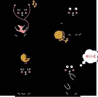 TenStickers. Vier schwarze Katzen Aufkleber. Mit diesen Katzen als Wandtattoo können Sie an der Wand im Kinderzimmer Akzente setzen.