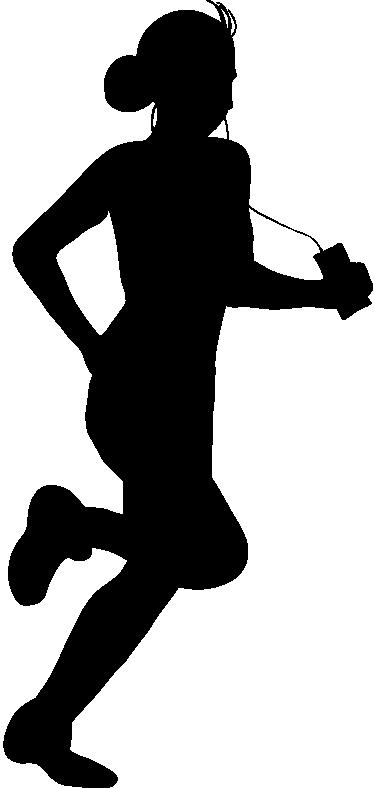 TenStickers. 음악 실행 벽 스티커. 벽 스티커-음악을 듣고 여성 조깅의 실루엣 그림. 고품질 비닐로 만든 데칼