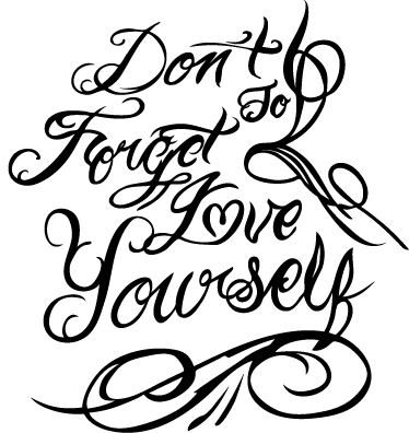 "TenStickers. Love Yourself Wall Sticker. Wall Stickers - ""Don´t forget to love yourself"" text design. Fill your space with positivity and love. Available in various sizes and in 50 colours."
