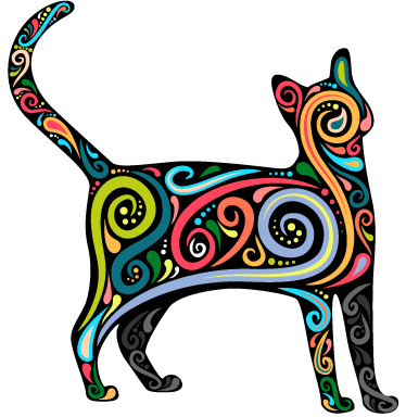 TenStickers. Decorative Cat Wall Sticker. Stylish multicoloured cat wall sticker to add a touch of colour and personality to your bedroom, living room or dining room. This delightful decal shows the silhouette of a cat with interesting colourful swirls around its body.