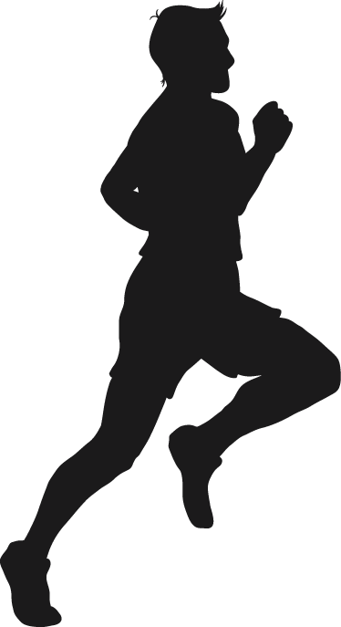 TENSTICKERS. オリンピックランナーシルエットウォールステッカー. ウォールステッカー-短い髪を実行しているオスの運動選手の概要図。さまざまなサイズと50色で入手できます。