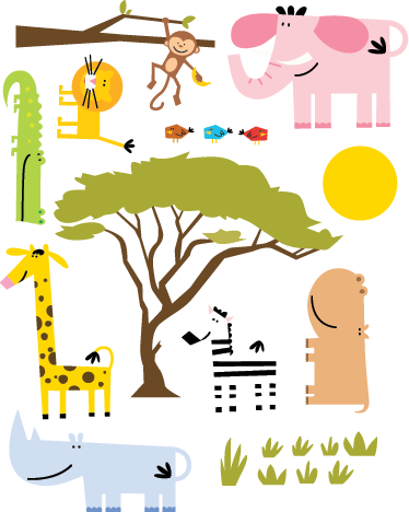 TenStickers. Jungle Animals Kids Sticker. A collection of animal wall stickers to decorate your child's nursery or play area. Brilliant jungle decal suitable for all kids.