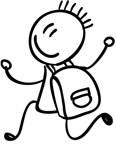 TenStickers. Student with School Bag Kids Sticker. Wall stickers for school collection - A creative wall sticker drawing illustrating a happy little boy running with this school bag!