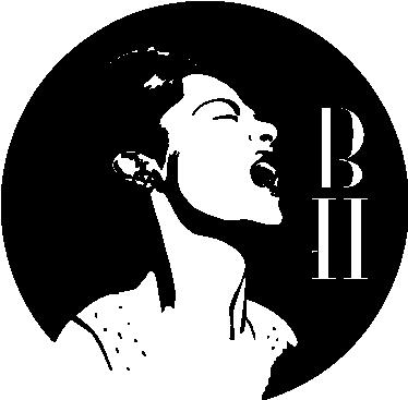 TenVinilo. Vinilo decorativo dibujo Billie Holliday. Adhesivo circular con un retrato de esta fantástica cantante de jazz norteamericana con sus siglas grafiadas.