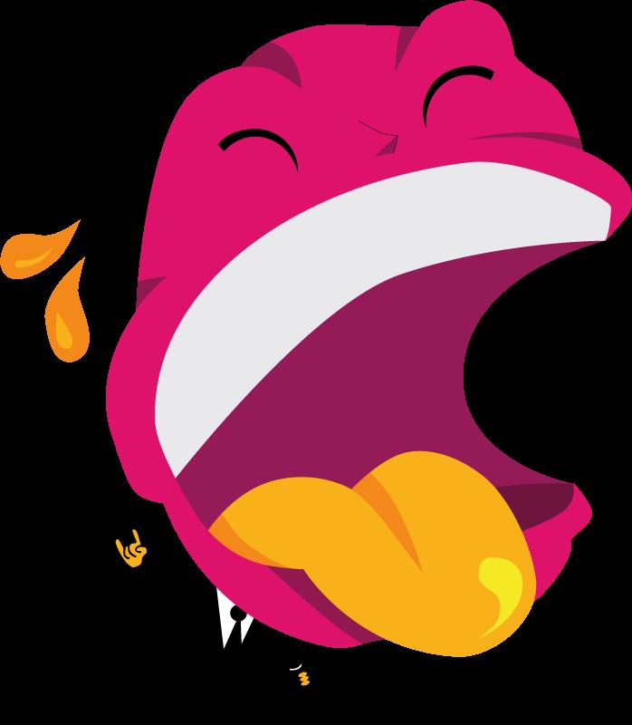 TenStickers. Wandtattoo schreiendes Wesen. Comic Wandtattoo Männchen im Anzug, großer pinker, schreiender Kopf mit gelber Zunge