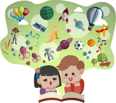 TenStickers. 아이를 읽는 아이들 스티커. 두 명의 작은 아이들이 책에 집중된 모습을 보여주는 어린이 벽 스티커! 연구실 또는 지역에 적합한 교육용 데칼.