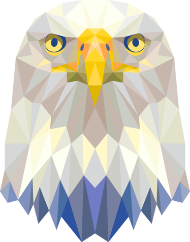 TenStickers. Geometric Imperial Eagle Head Decal. Decals - Striking geometric illustration of a proud eagle. Distinctive colourful feature. Ideal for all ages.