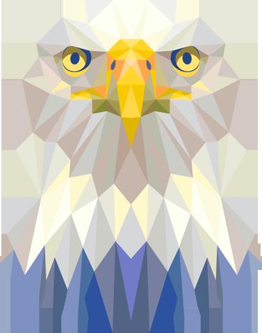 TenStickers. Sticker aigle royal géométrique. Personnalisez votre décoration avec cette illustration graphique d'un rapace de nuit. Un aiglegéométrique original pour une décoration unique.