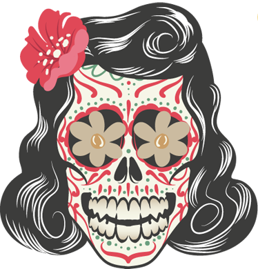 TenStickers. Mexican Day of the Dead Decorative Decal. Decorate your home, vehicle, microwave, anything you want with this sticker inspired by Mexico's day of the dead festival. A freepik design. Make your home a happy one with this fantastic decal of a woman's skull with floral patterns and bright colours.