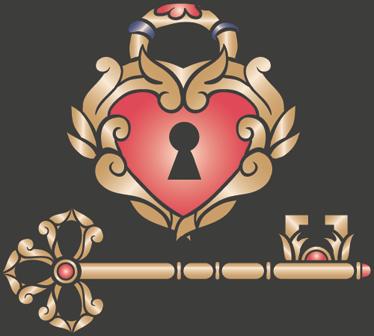 TenStickers. 사랑의 벽 스티커. 사랑 디자인의 빈티지 자물쇠를 보여주는 로맨틱 한 벽 스티커! 원래 벽 장식을 찾는 사람들을위한 화려한 심장 데칼.