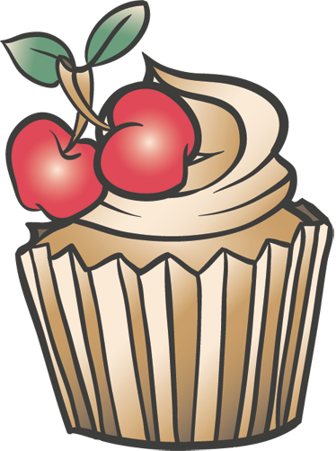 TenStickers. Cupcake with Cherry Decal. This cupcake wall sticker has been designed for the real cupcake lovers out there! This super cute design of a cupcake with frosting and cherries will look great in your kitchen.
