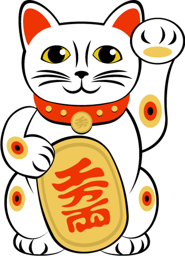 TenStickers. Maneki-neko Cat Wall Sticker. Wall Stickers - Illustration of the Japanese figurine believed to bring good luck. Also known as the lucky cat.