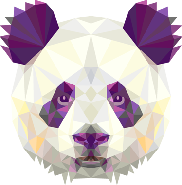 TenStickers. Geometric Panda Bear Head Decal. Decals - Striking geometric illustration of a panda bear. Distinctive colourful feature. Ideal for all ages.