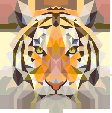 TenStickers. Autocolante de figuras geométricas cabeça de tigre. Impressionante autocolante de figuras geométricas de um tigre faminto da nossa coleção de autocolantes decorativos de animais selvagens.
