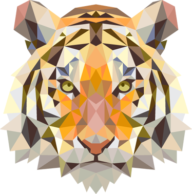TenStickers. 기하학적 호랑이 머리 장식. 야생 동물 벽 데칼 컬렉션에서 배고픈 호랑이의 기하학적 인 벽 스티커를 치고. 모든 침실과 거실에 색감을 추가 할 수있는 독특한 색채의 특징.