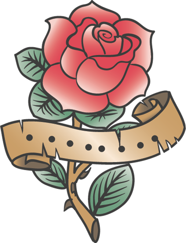 TenStickers. Rose Tattoo Wall Decal. Wall Stickers - Rose tattoo illustration to decorate your walls, cupboards, appliances and more. High quality vinyl, easy to apply and remove