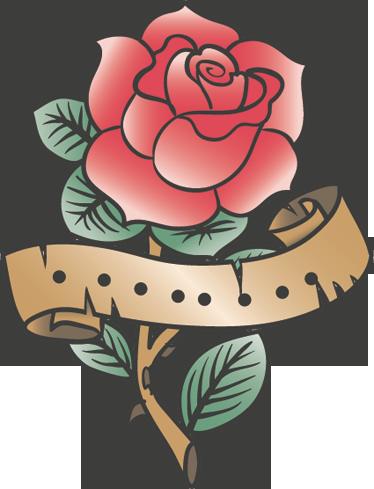 TenStickers. Sticker decorativo rosa tattoo. Illustrazione adesiva che raffigura una rosa rossa avvolta da un papiro. Un tema classico dei tatuaggi per decorare le pareti di casa.
