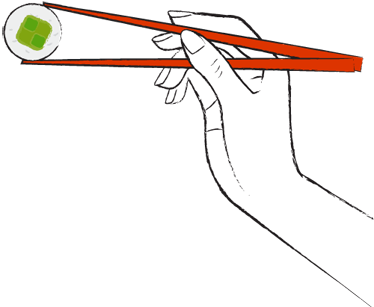 TenStickers. Sushi Time Wall Sticker. Wall Stickers - Decals - Illustration of a hand holding japanese food with chopsticks.