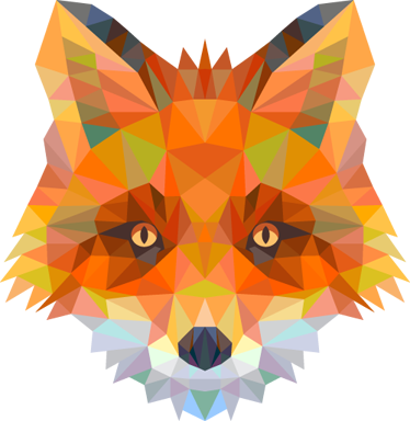 TenStickers. Geometric Fox Head Decal. Striking geometric wall sticker illustration of a cunning fox, from our wild animals wall stickers collection. Distinctive colourful feature. Ideal for all ages. Easy to apply and easily removable without leaving a residue.