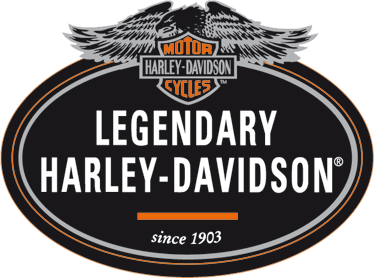 TenVinilo. Vinilo etiqueta Harley Davidson. Pegatina ovalada en tonos negros, grises y naranjas de esta famosa casa de motocicletas estadounidense.