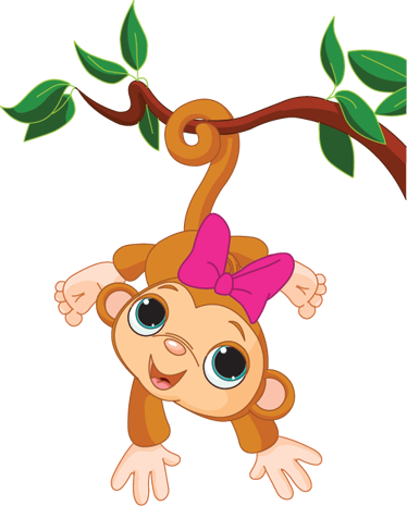TenStickers. Baby Girl Monkey Kids Sticker. An original monkey design from our collection of monkey wall stickers to decorate the room of your children.