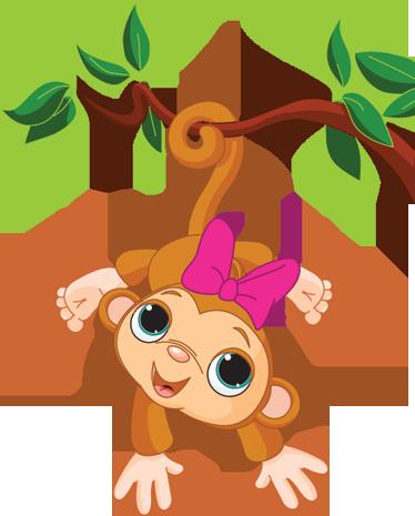 TenStickers. 宝贝女孩猴子孩子贴纸. 从我们的猴子墙贴的一个分支悬挂的猴子的原始设计来装饰你孩子的卧室。超级易于涂抹,去除后不留残留物。