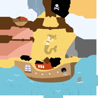 TenStickers. 海盗船孩子墙贴纸. 一个海盗船的神奇海盗墙贴为家里的小家伙。这款儿童墙贴纸是我们设计的海墙贴纸之一。在七大洋中航行,寻找装满黄金和皇室珠宝的宝箱!